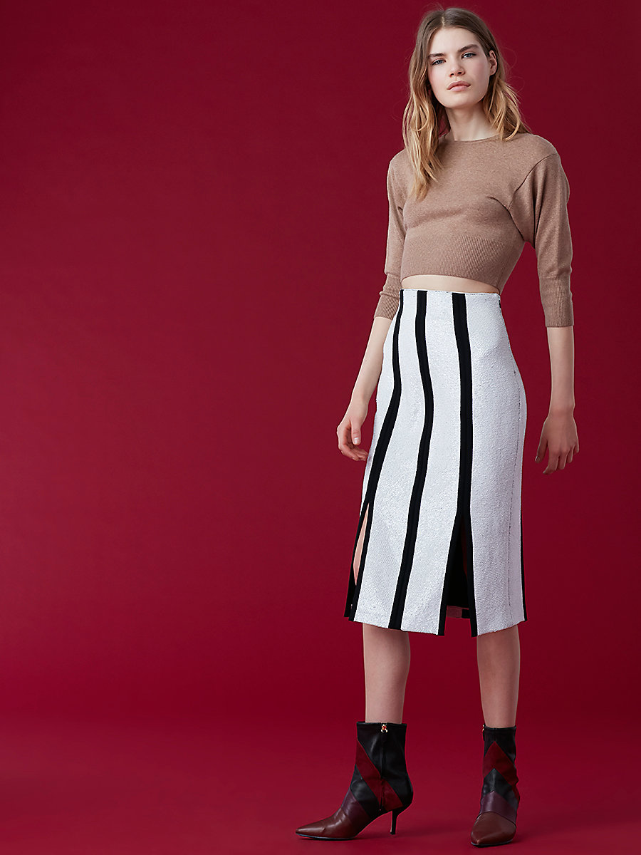 High-Waisted Fitted Pencil Skirt in White/ Black by DVF