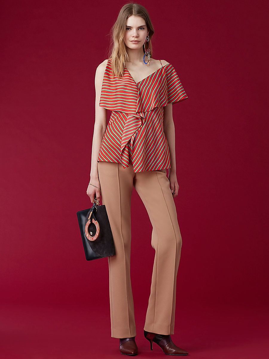 Asymmetric Ruffle Front Top in Bodin Stripe Bright Red by DVF