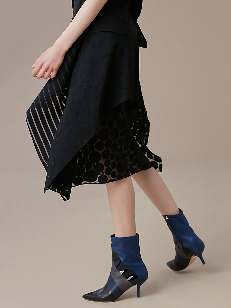 Front Ruffle Midi Skirt in Black by DVF