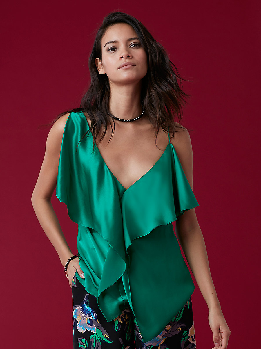 Asymmetrical Ruffle Front Blouse in Evergreen by DVF