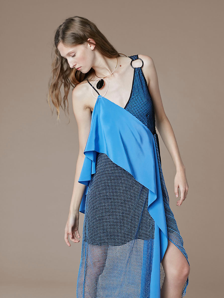 Asymmetric Sleeve Sash Dress in Denim/black by DVF