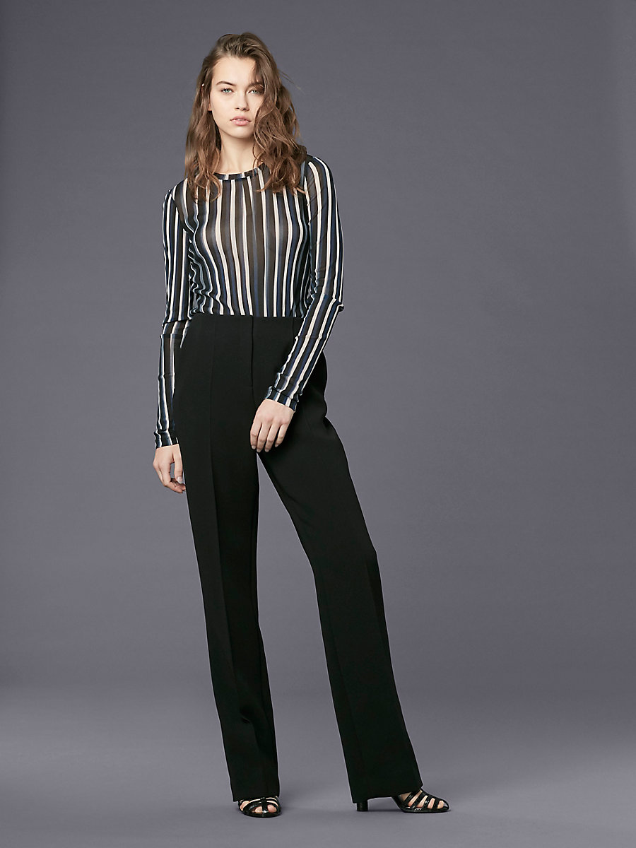 Pleat Front Dress Pant in Black by DVF