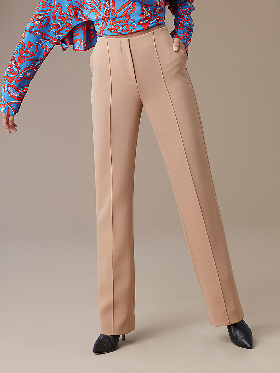 Pleat Front Dress Pant in Camel by DVF