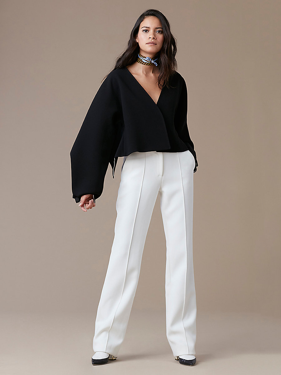 Pleat Front Dress Pant in Ivory by DVF