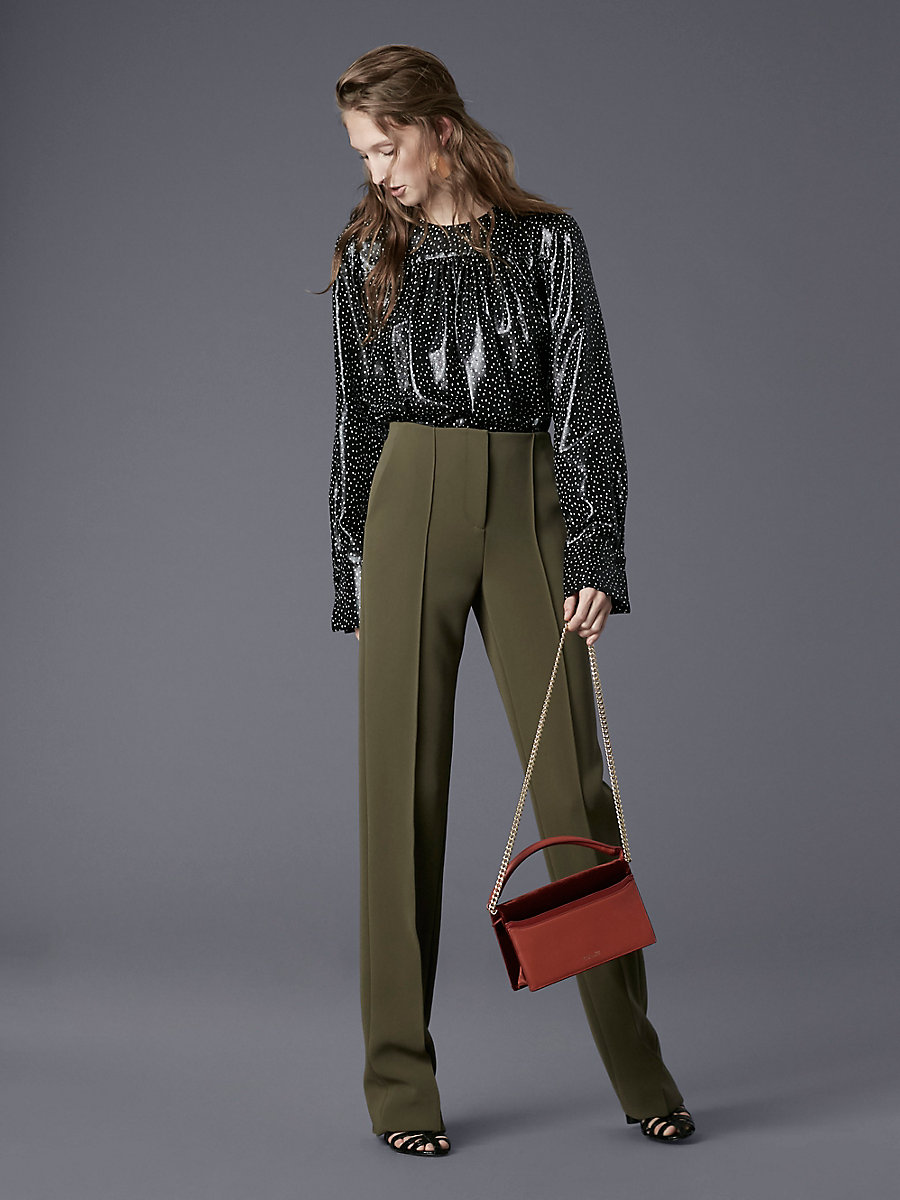 Pleat Front Dress Pant in Olive by DVF