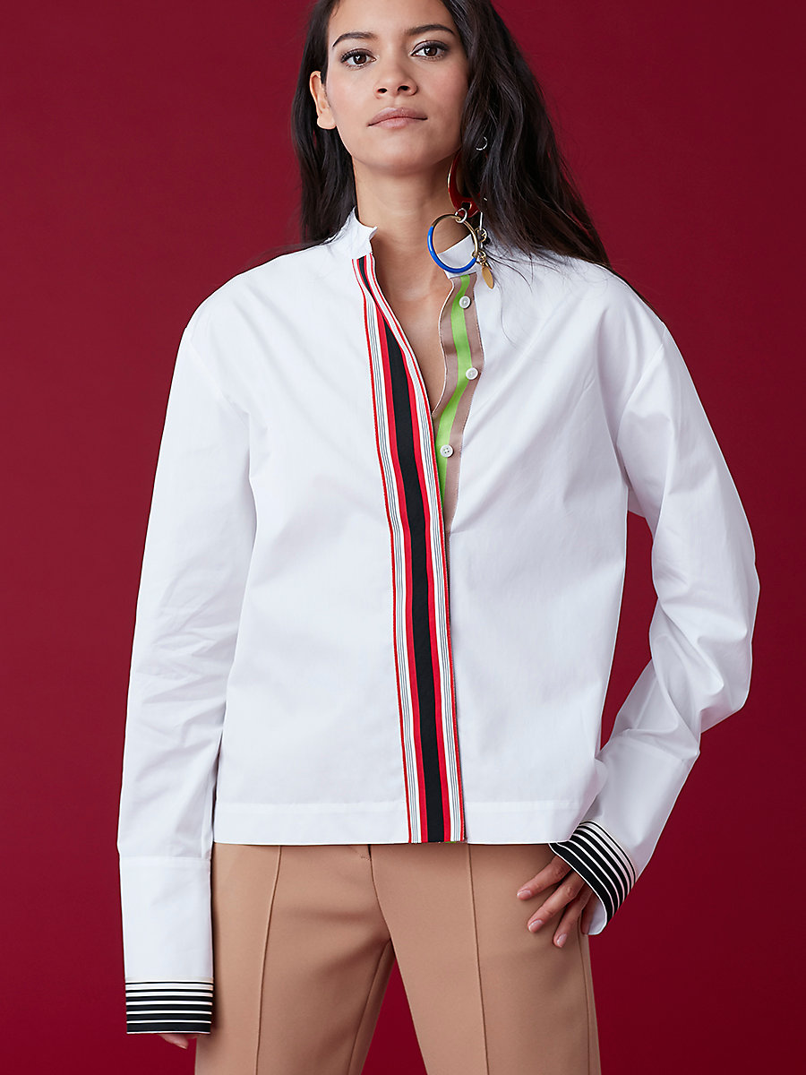 Ribbon Button-Down Top in White by DVF