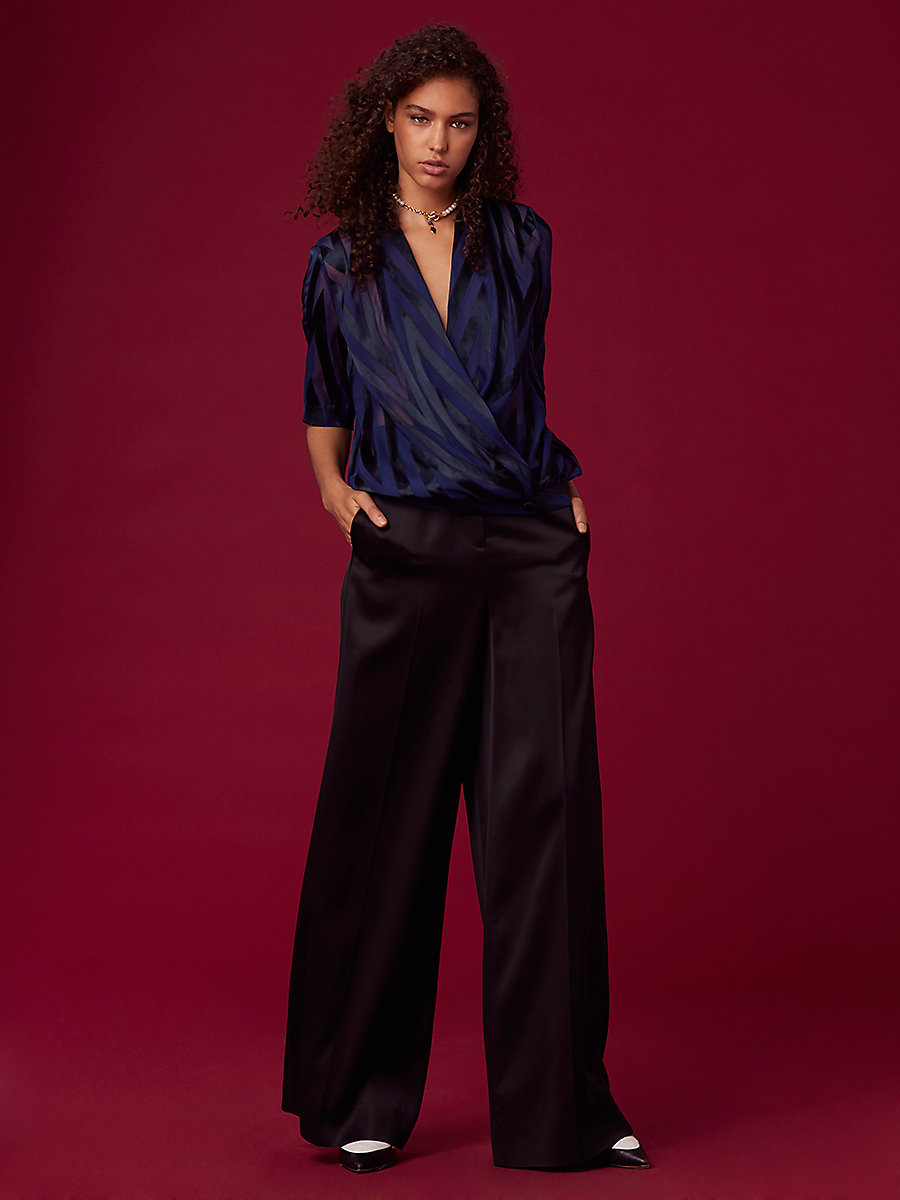 Satin Burnout Cross-Over Blouse in Alexander Navy/ Deep Violet/ Black by DVF