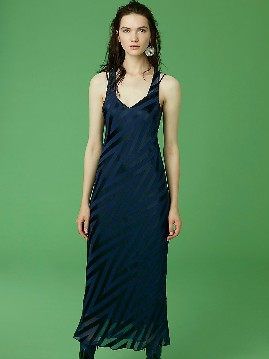 Scoopneck Burnout Midi Dress in Alexander Navy/ Deep Violet/ Black by DVF