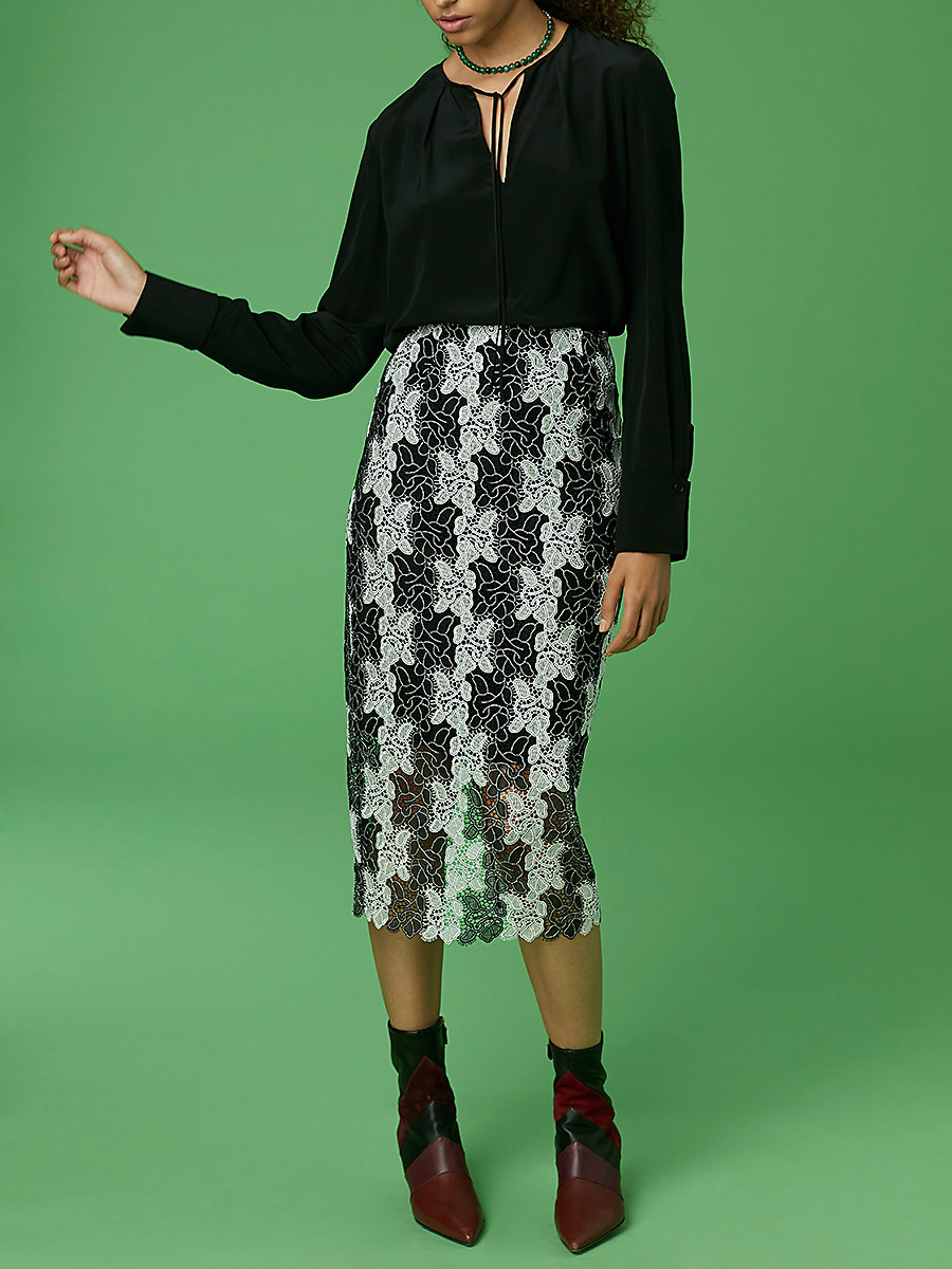 Pencil Skirt in Black/ White by DVF