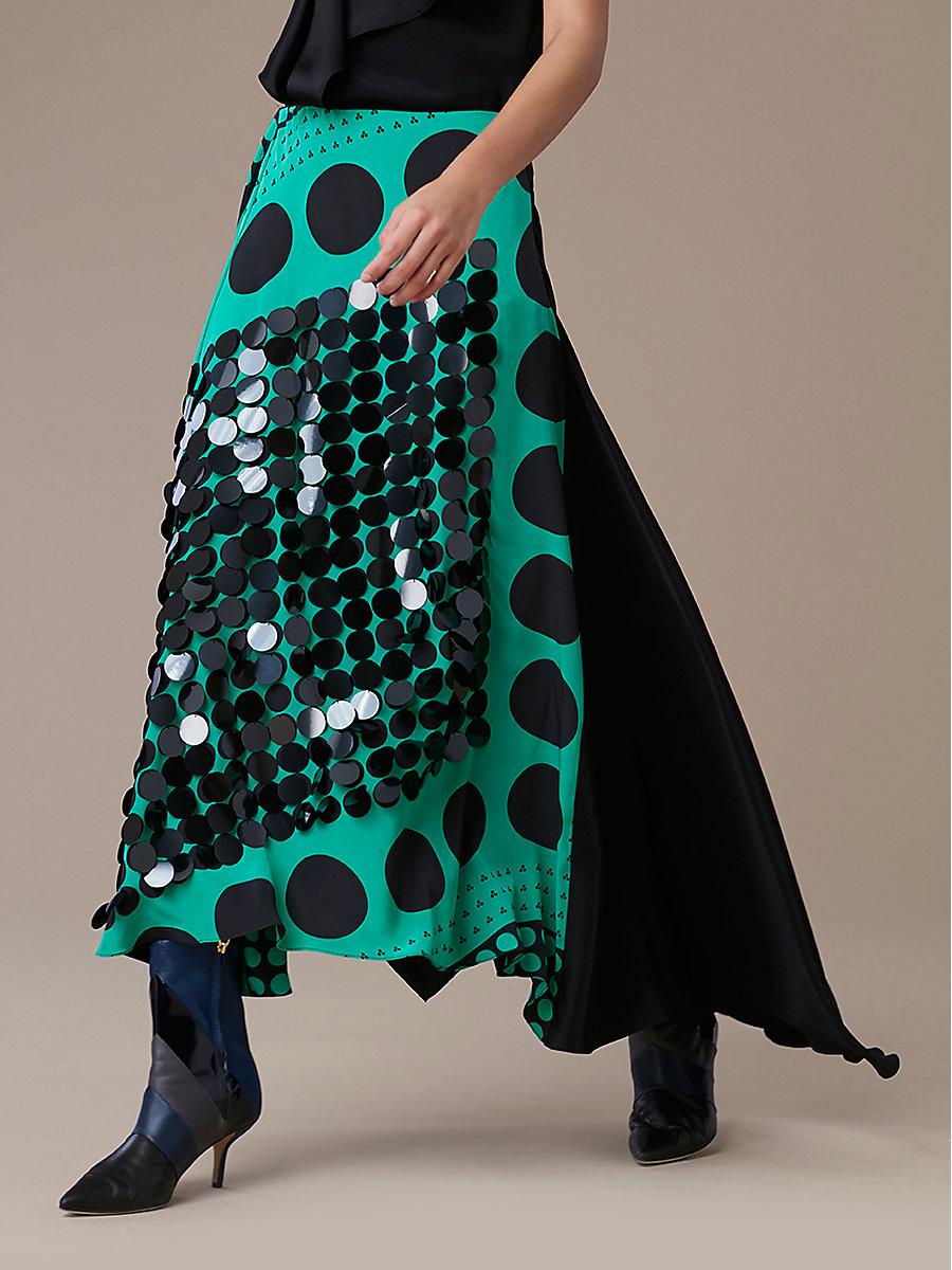 Draped Skirt in Brunel Evergreen/ Black by DVF