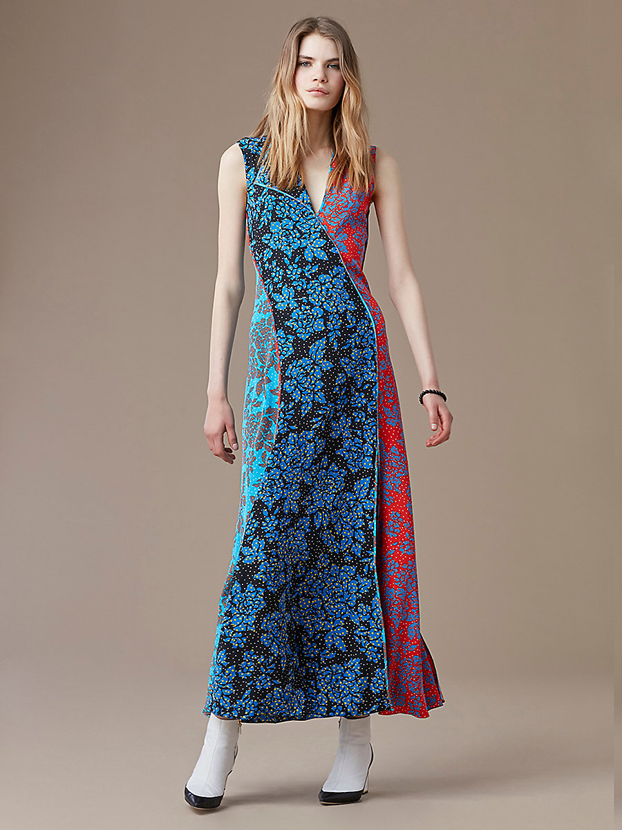 Paneled Bias Floor-Length Dress in Callow Cerulean by DVF