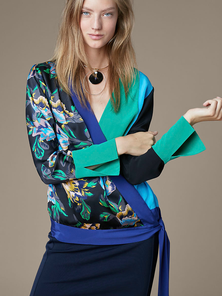 Crossover Tie Blouse in Benton Combo by DVF
