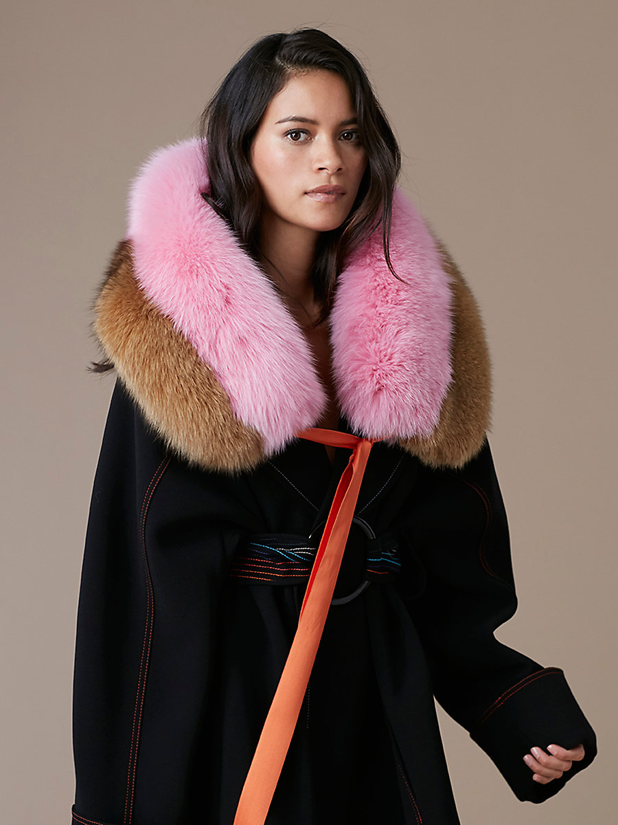 Bicolor Fox Fur Shawl in Toffee/ Plastic Pink by DVF