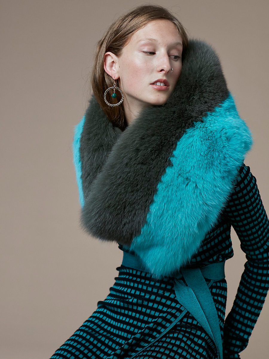 Bicolor Fox Fur Shawl in Wellington/ Aquamarine by DVF