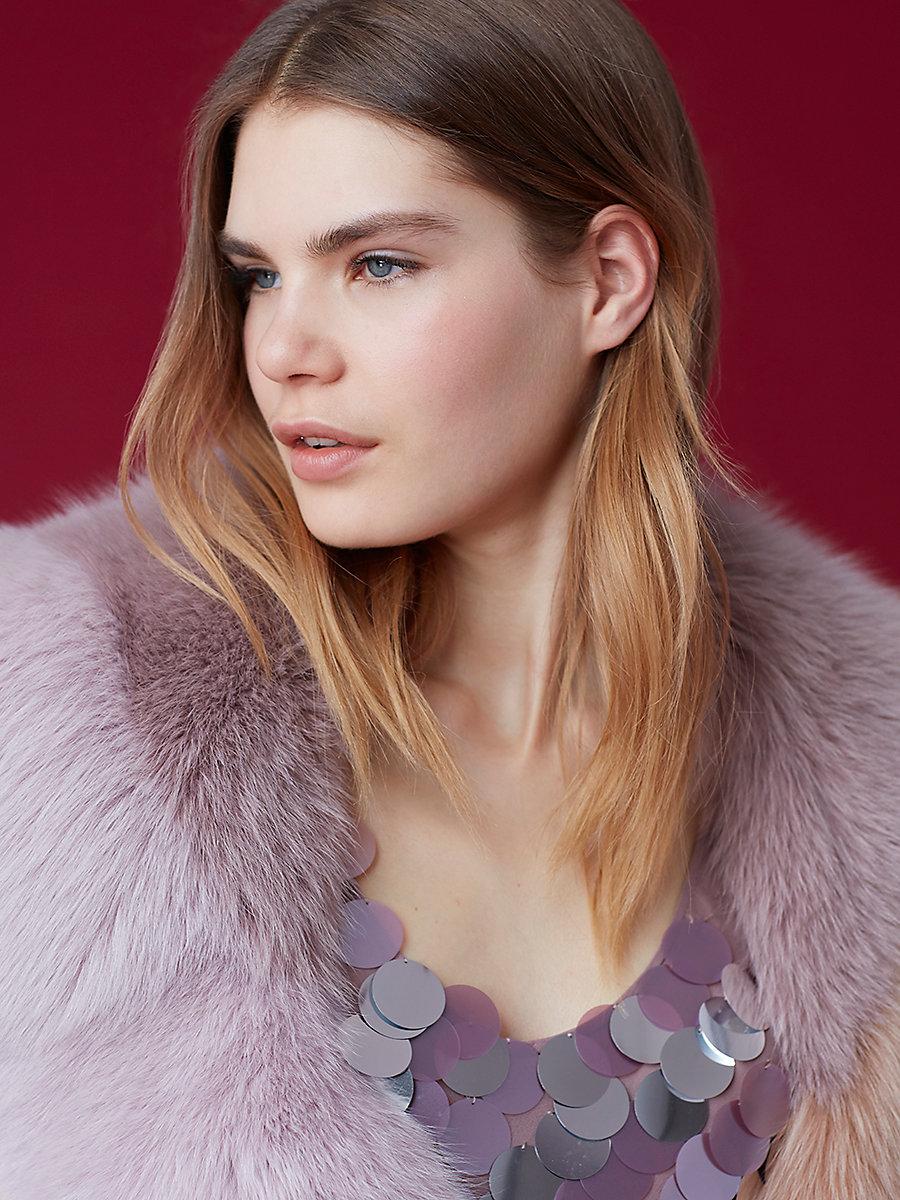 Fox Fur Shawl in Lavender/ Mauve/ Macaron by DVF