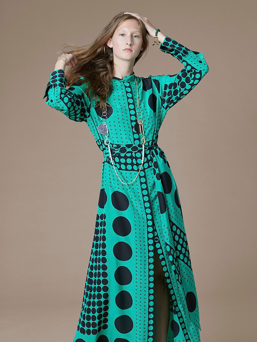 Long-Sleeve Maxi Shirtdress in Brunel Evergreen/ Black by DVF