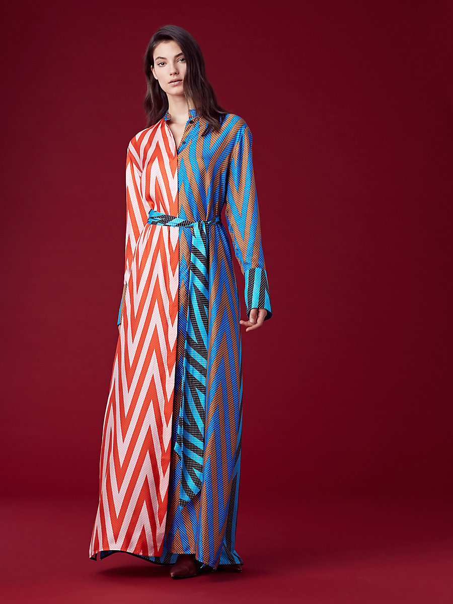 Long-Sleeve Maxi Shirtdress in Odeon Chevron Soft Pink Multi by DVF