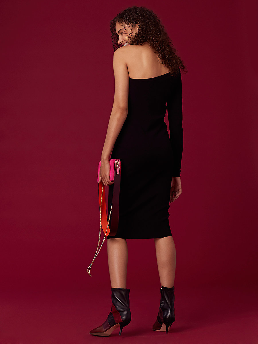 One Shoulder Knit Dress in Black by DVF