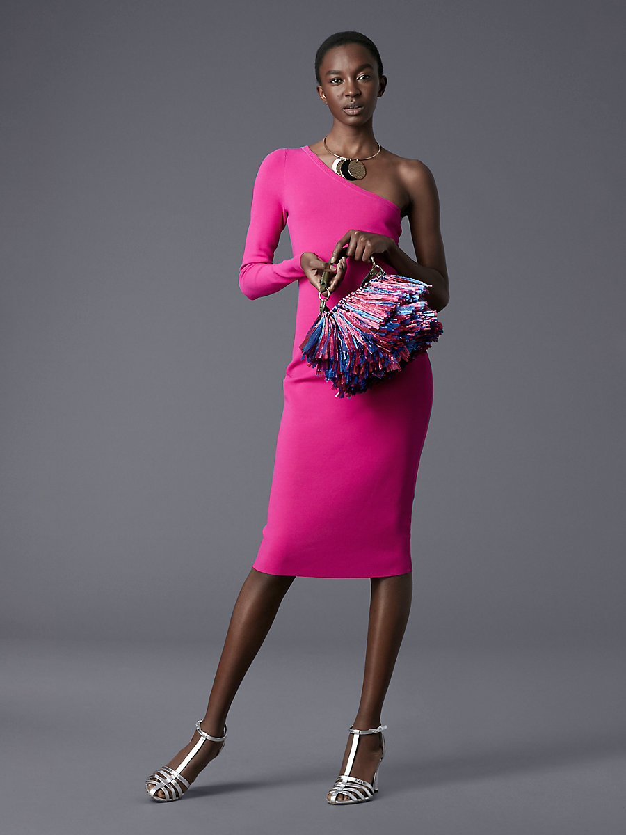 One Shoulder Knit Dress in Ribbon Pink by DVF