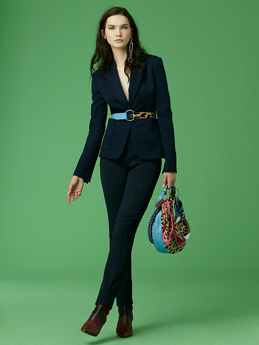Classic Knit Tailored Jacket in Alexander Navy by DVF