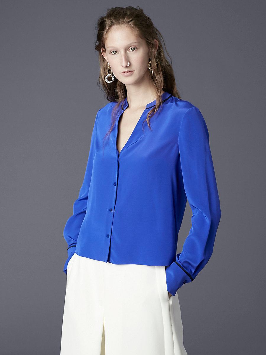 Button Down V-Neck Silk Shirt in Electric Blue/ Alexander Navy by DVF
