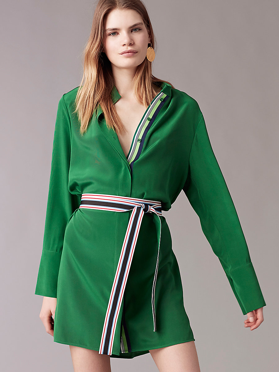 Long Sleeve Shirt Dress in Green Envy by DVF