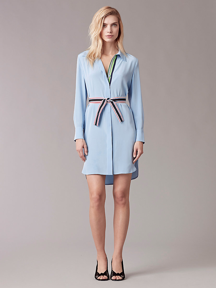 Oversized Shirt Dress in Hortensia Blue by DVF