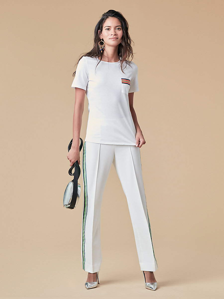 Crew Neck Ribbon Detail Tee in White by DVF
