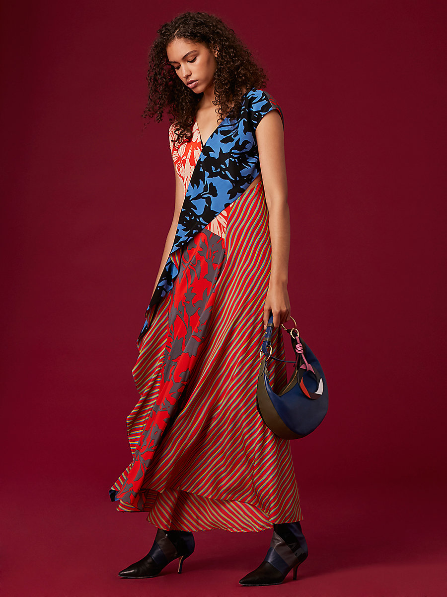 Ruffle Draped Floor-Length Dress in Brulon Bright Red Multi by DVF