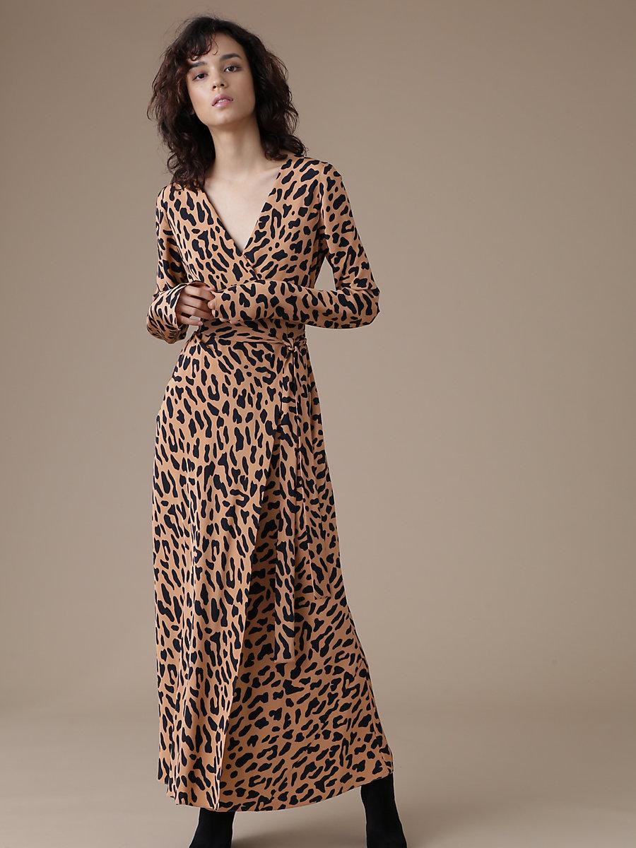 Long Sleeve Wrap Dress in Belmont Camel by DVF