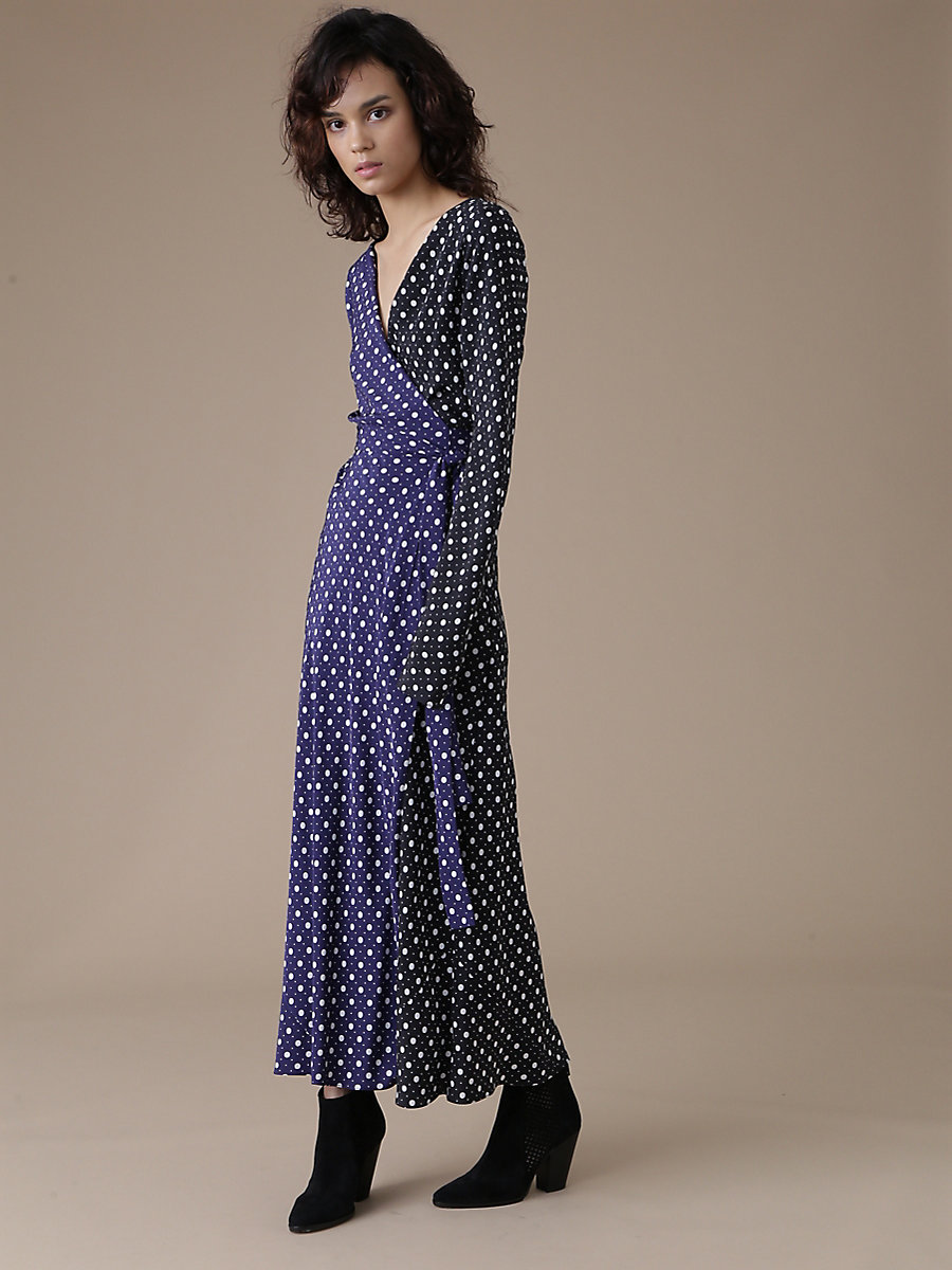 【先行予約 10月下旬お届け予定】Long Sleeve Wrap Dress in Chilton Dot Violet Combo by DVF