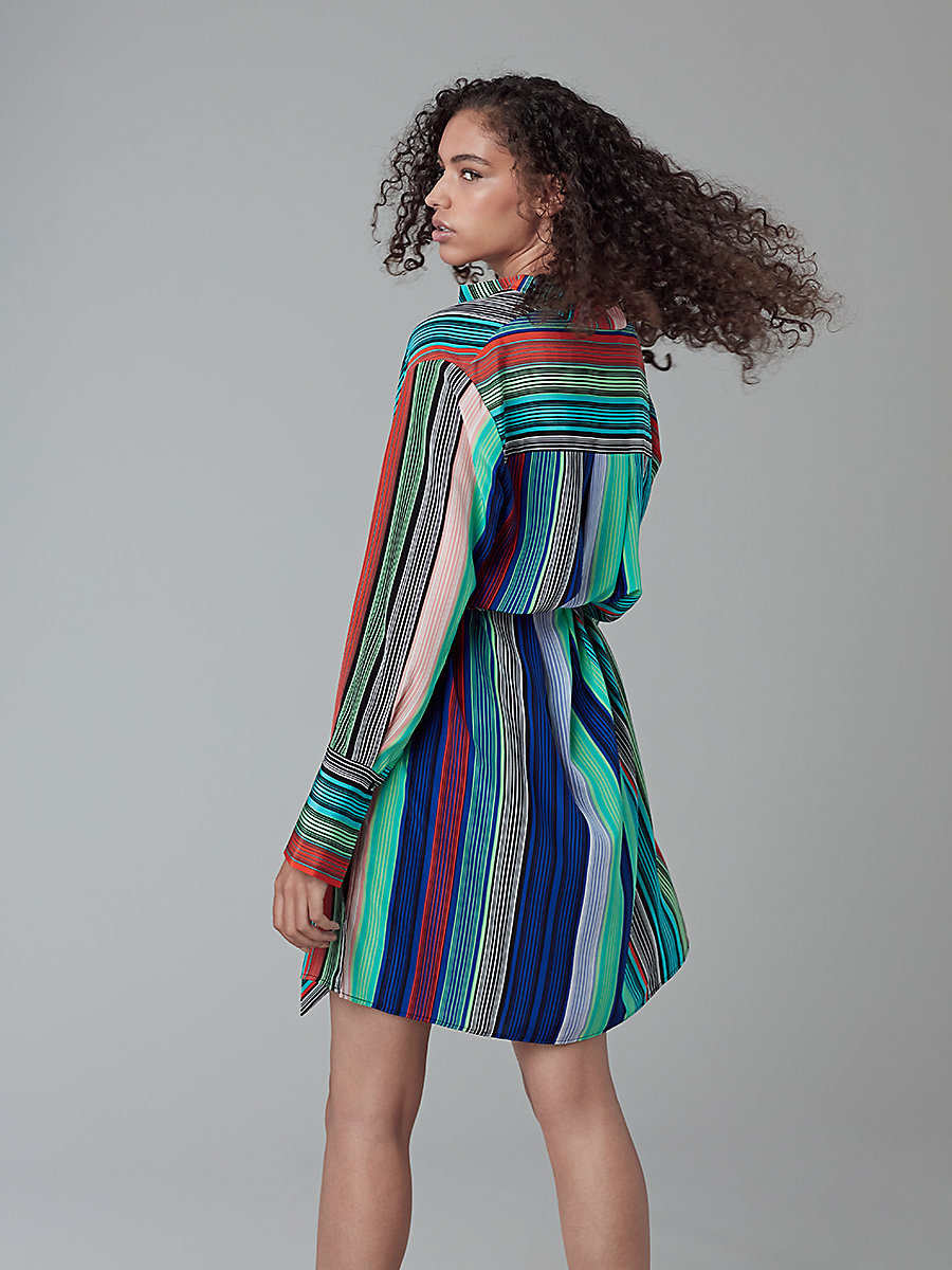 Long-Sleeved Shirt Dress in Burman Stripe Multi by DVF