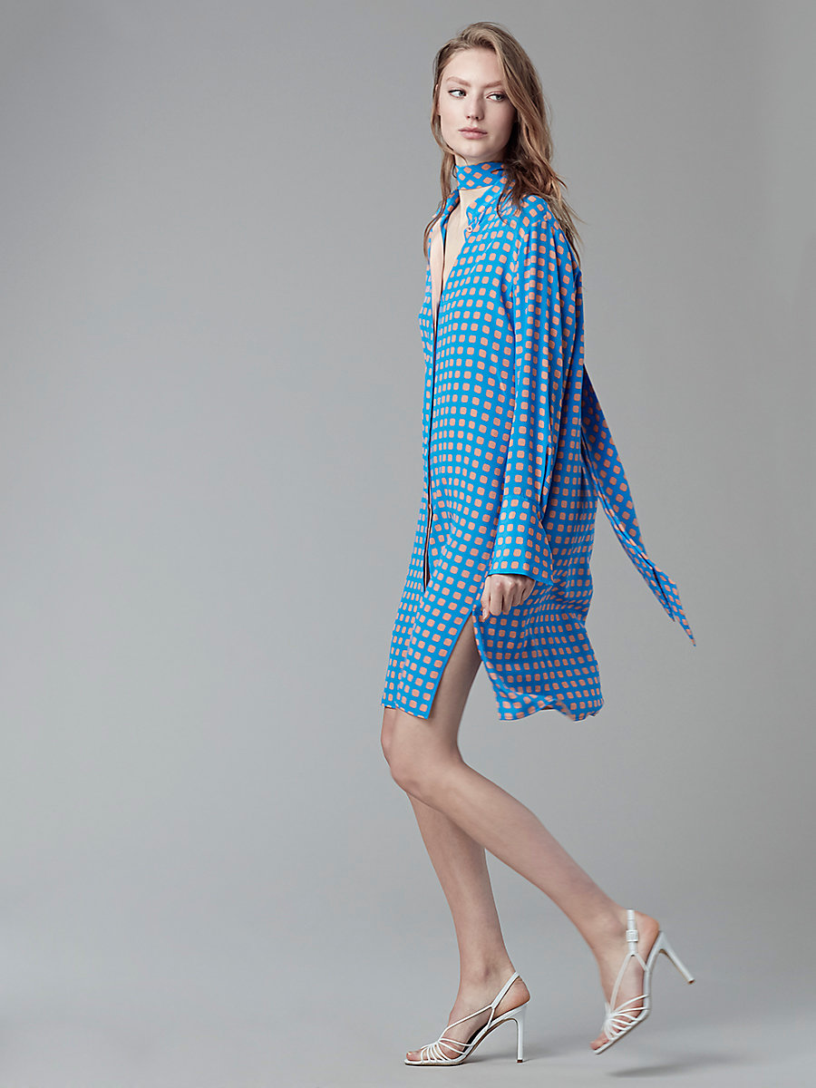 Long-Sleeved Shirt Dress in Mura Tile Blue by DVF