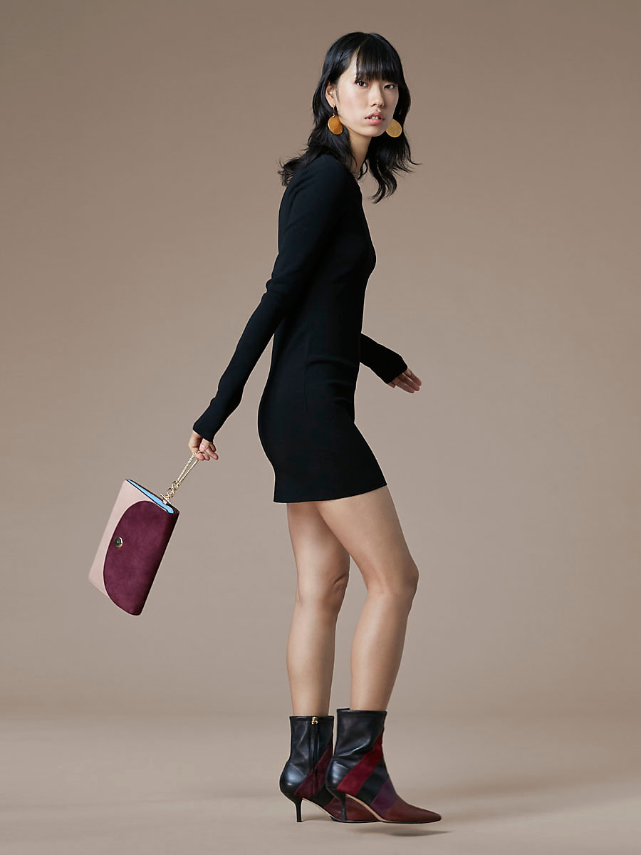 Crewneck Knit Dress in Black by DVF