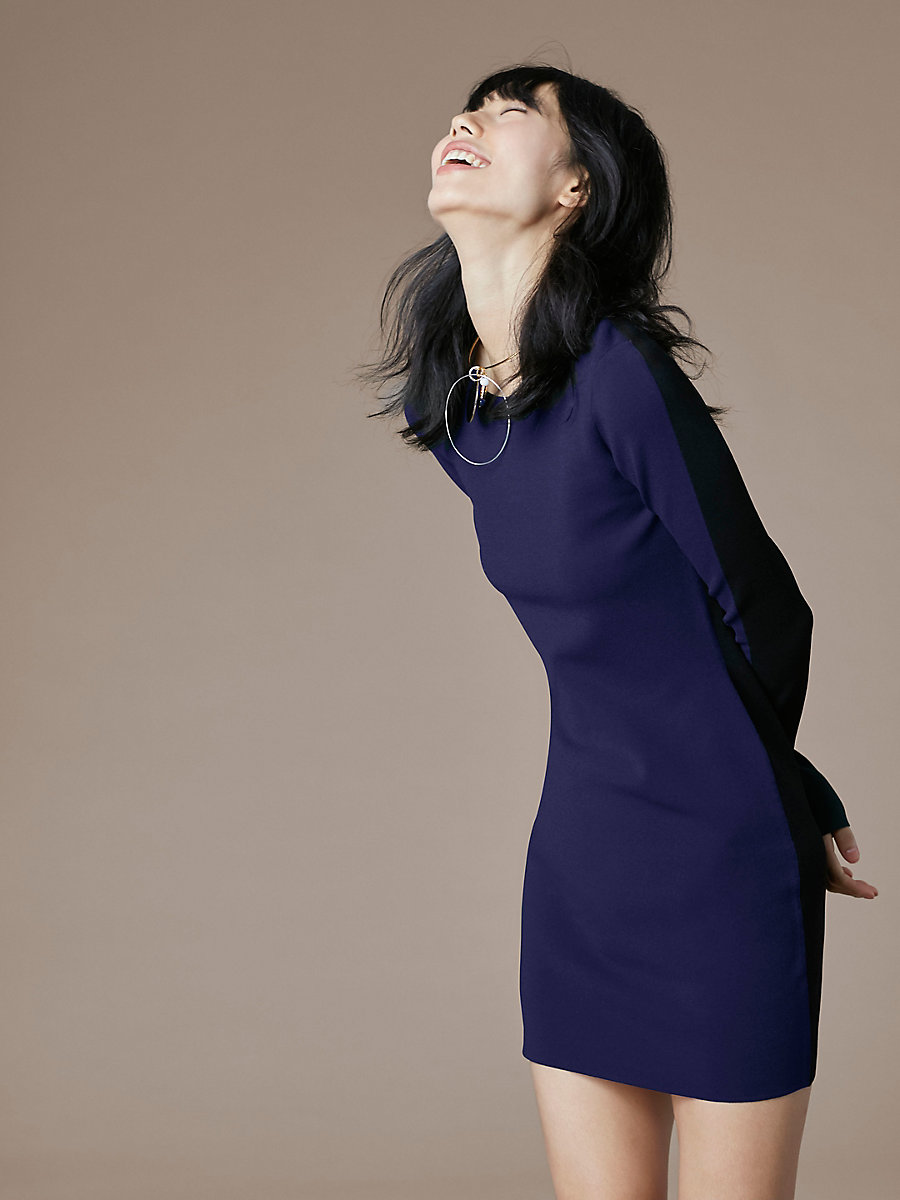 Crewneck Knit Dress in Deep Violet/ Black by DVF