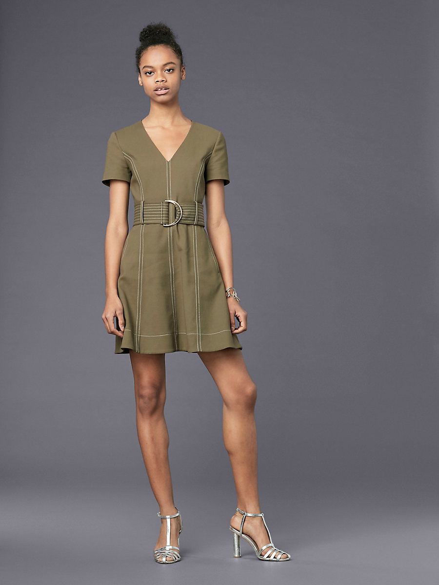 Short-Sleeve D-Ring Dress in Olive by DVF