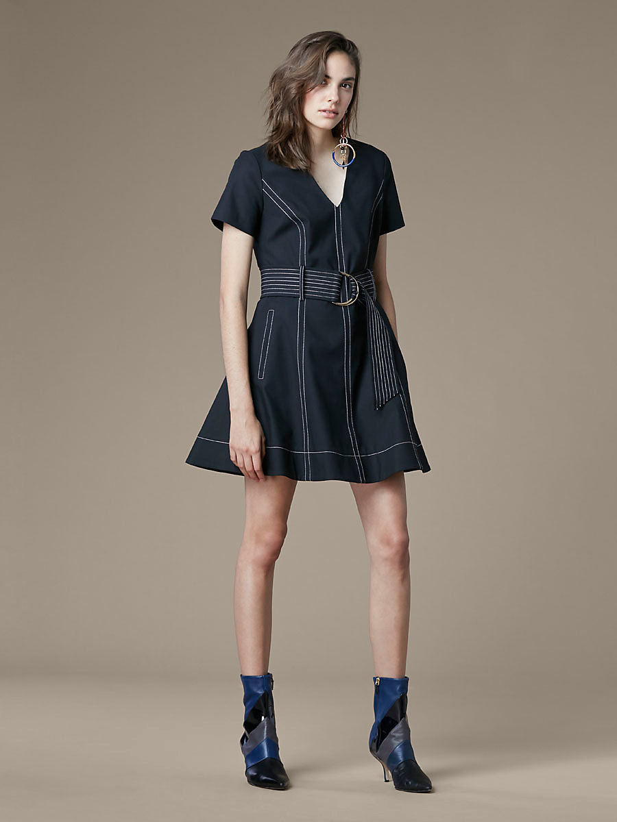 Short-Sleeve D-Ring Dress in Black by DVF
