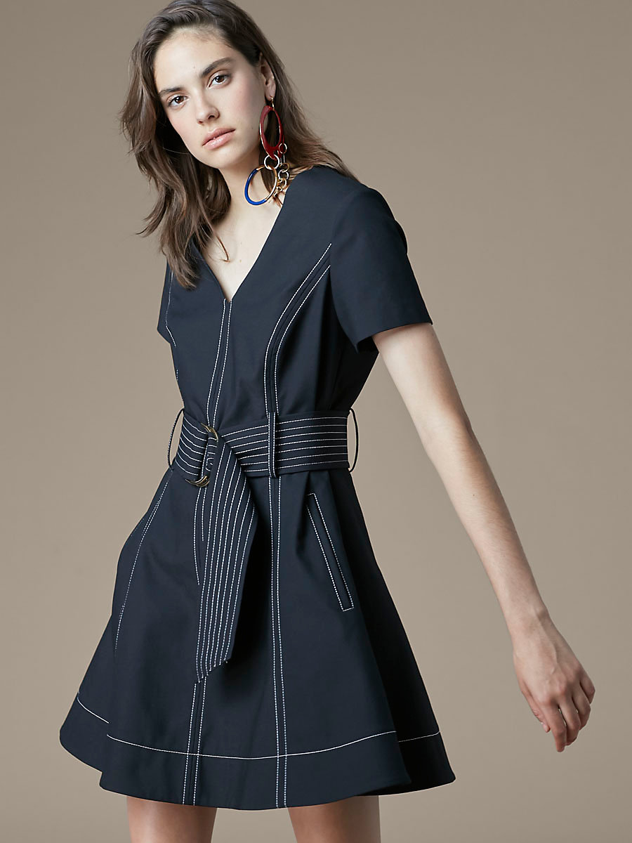 Short-Sleeve Zip Front Dress in Black by DVF