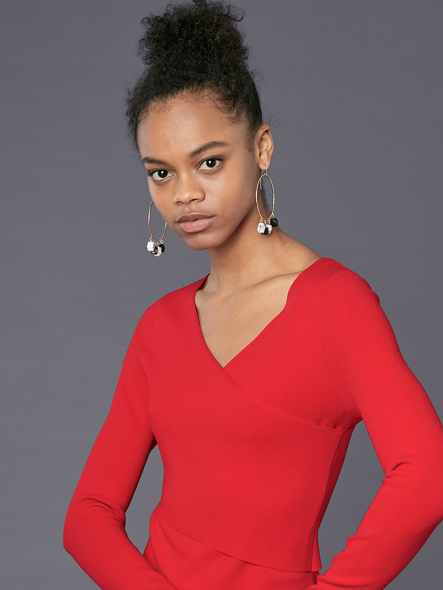Long-Sleeve V-Neck Knit Dress in Lipstick by DVF
