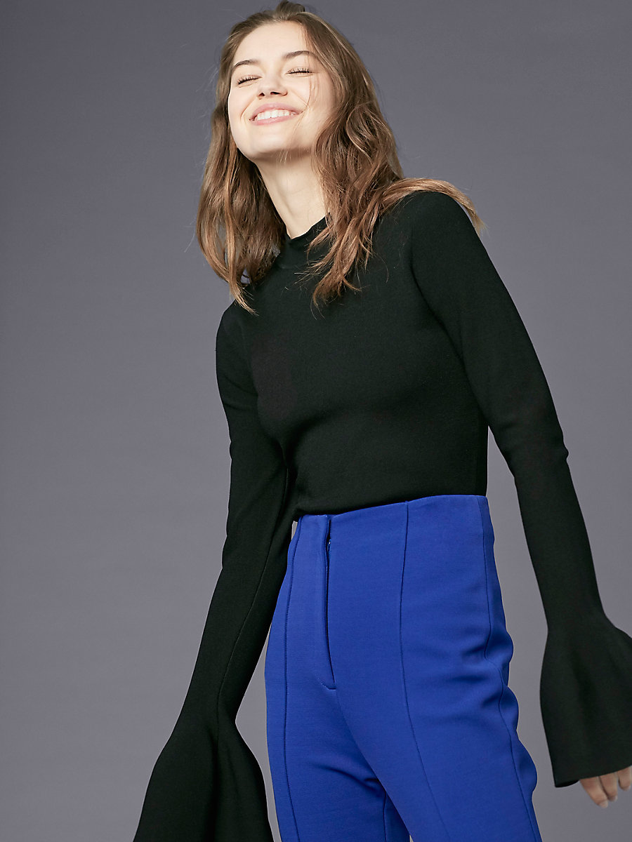 Flutter Sleeve Turtleneck Pull Over in Black by DVF