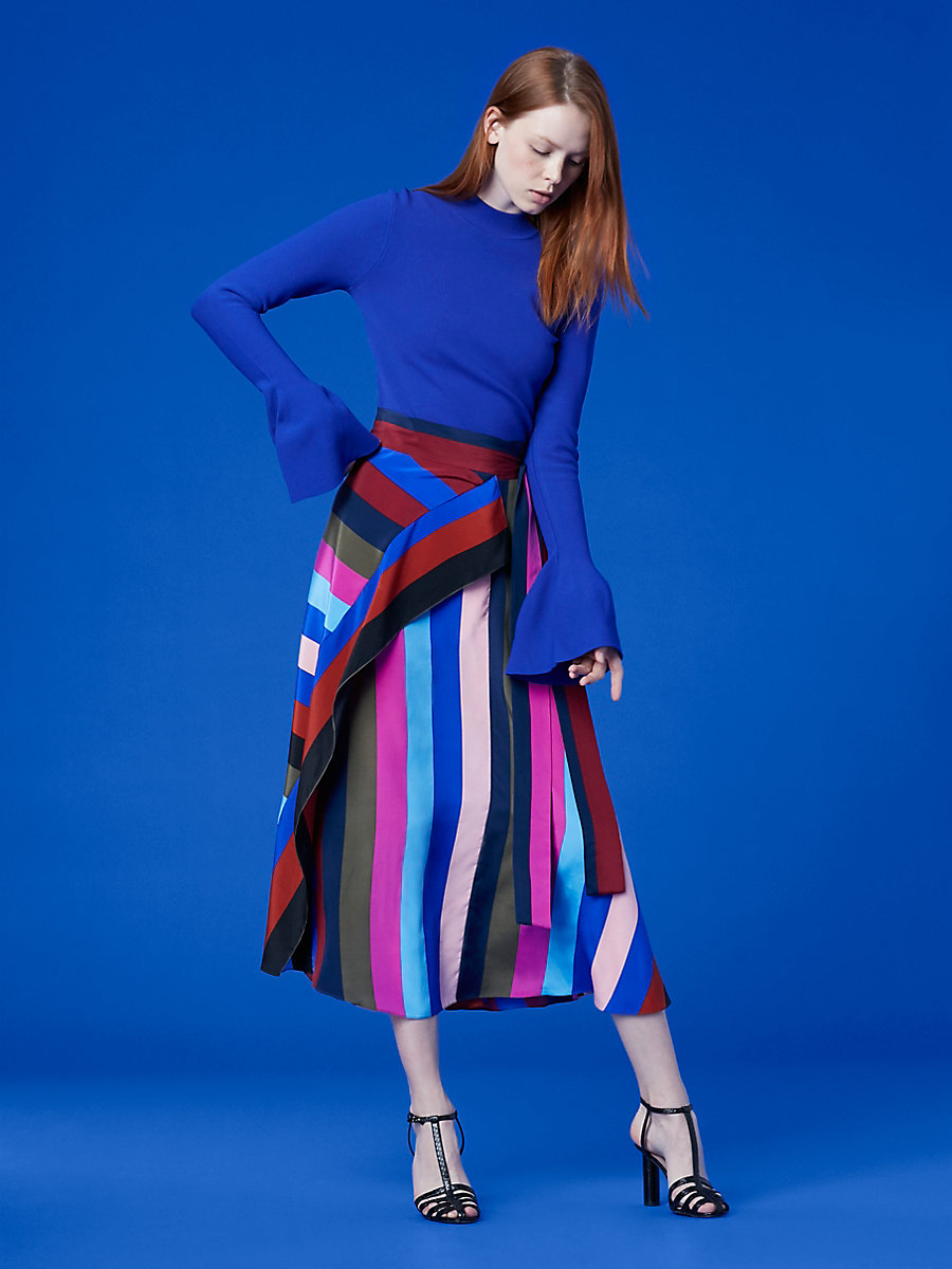 Flutter Sleeve Turtleneck Pull Over in Electric Blue by DVF