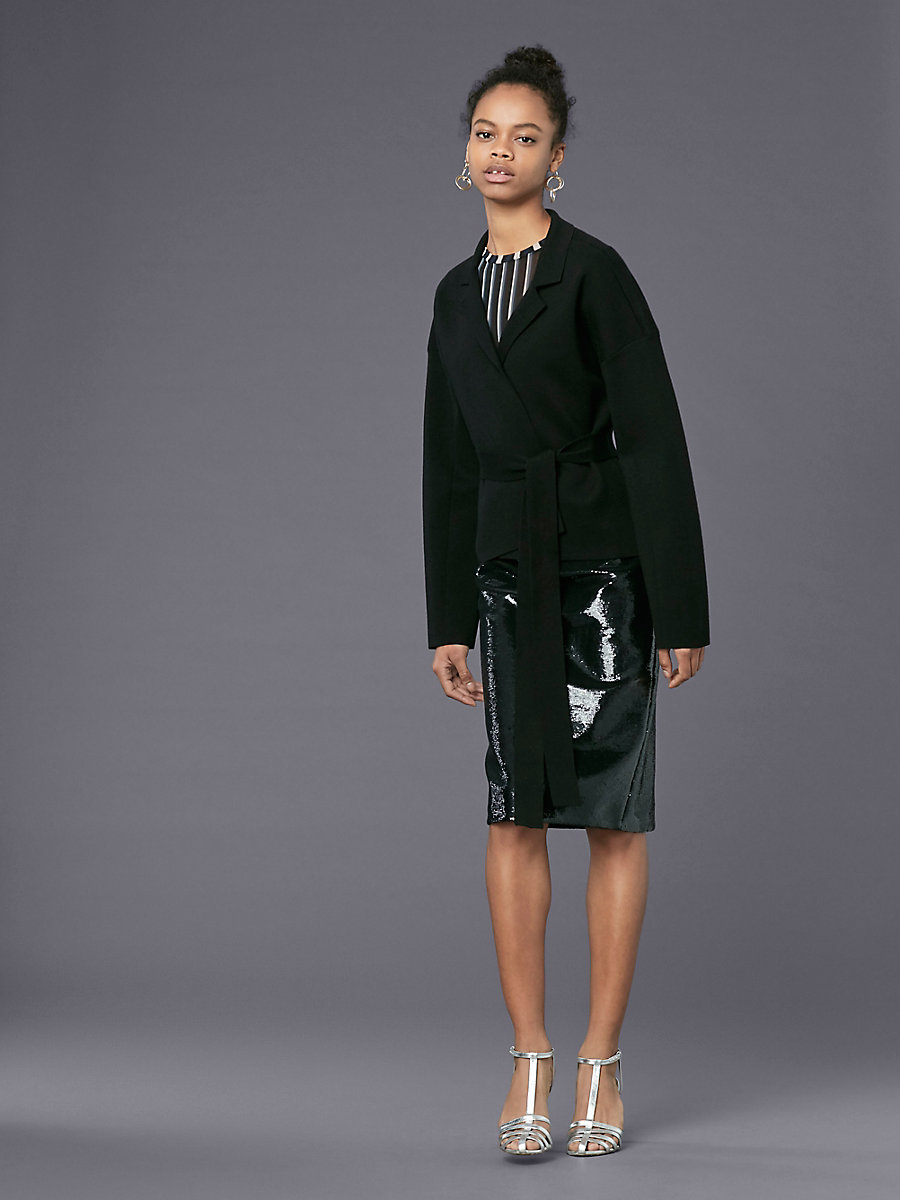 Long-Sleeve Knit Wrap Jacket in Black by DVF