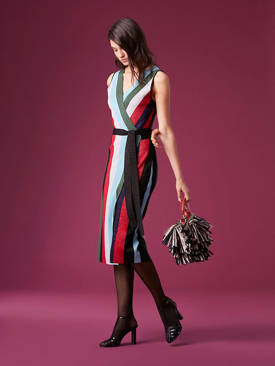 Metallic Knit Midi Wrap Dress in Marine Multi by DVF