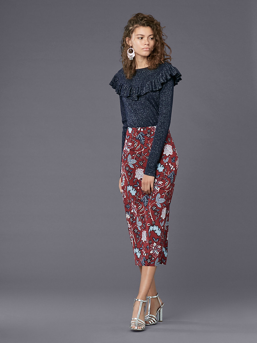 Long-Sleeve Ruffle Neck Pull Over in Alexander Navy by DVF