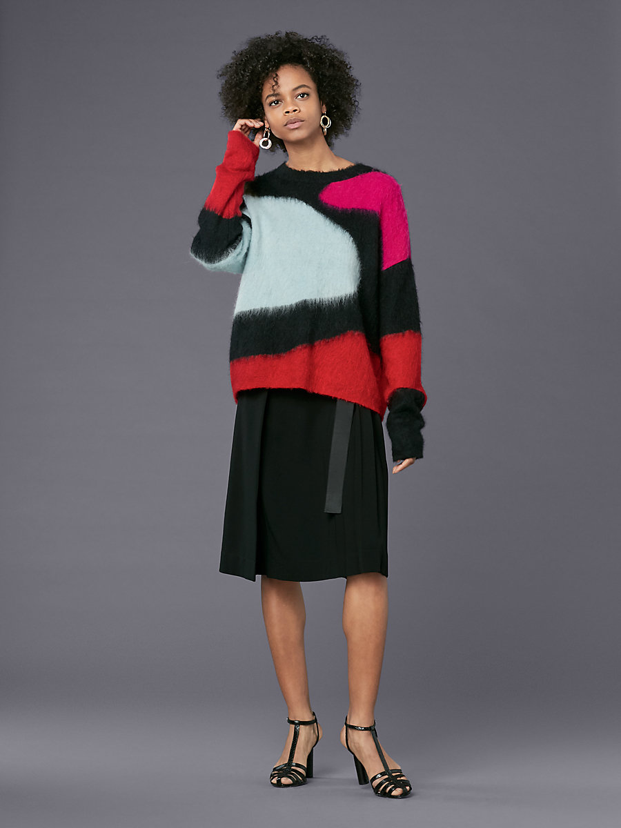 Long-Sleeve Crew Neck Intarsia Pull Over in Duck Egg Multi by DVF