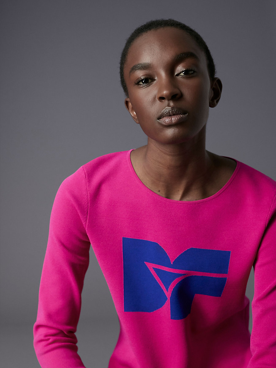 Long-Sleeve Crew Neck DVF Logo Pull Over in Electric Blue/ Ribbon Pink by DVF