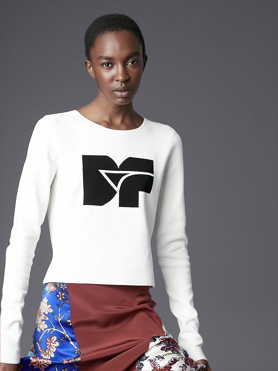 Long-Sleeve Crew Neck DVF Logo Pull Over in Ivory/ Black by DVF