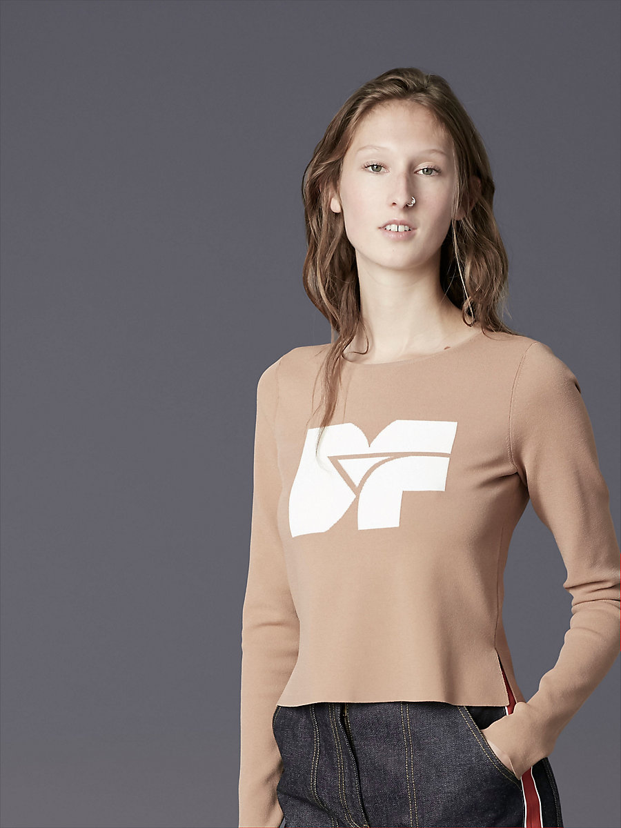 Long-Sleeve Crew Neck DVF Logo Pull Over in Ivory/camel by DVF