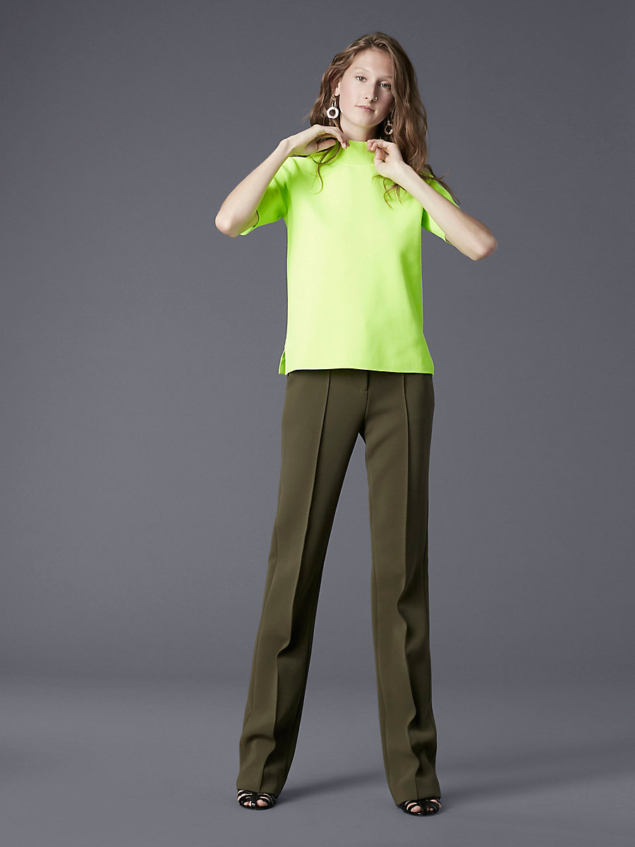 Short-Sleeve Mock Neck Pull Over in Fluorescent Yellow by DVF