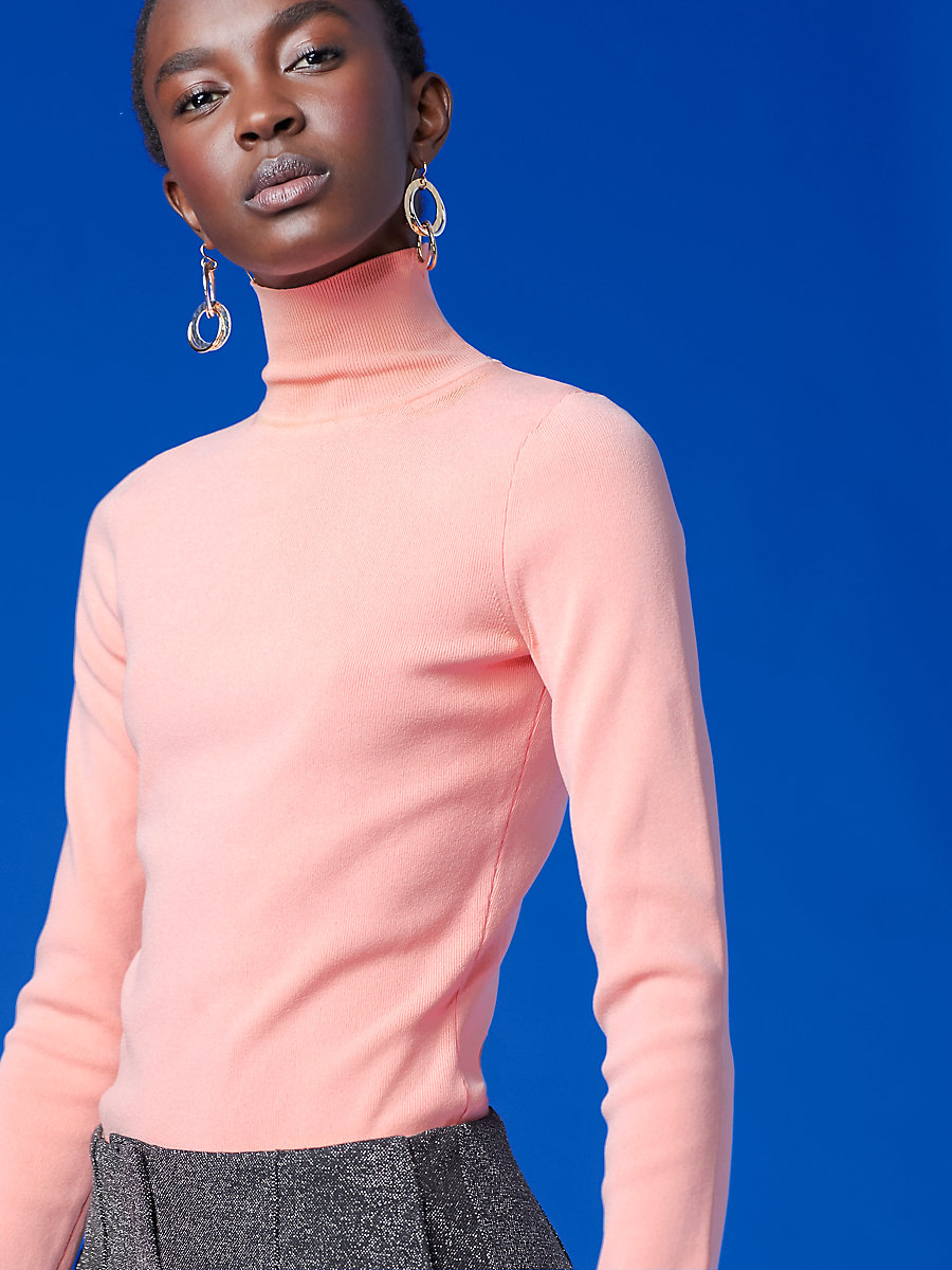 Long-Sleeve Turtleneck Fitted Pull Over in Sherbet by DVF